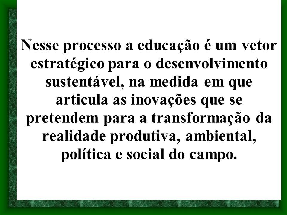 Nesse processo a educação é um vetor estratégico para o desenvolvimento sustentável, na medida em que articula as inovações que se pretendem para a transformação da realidade produtiva, ambiental, política e social do campo.