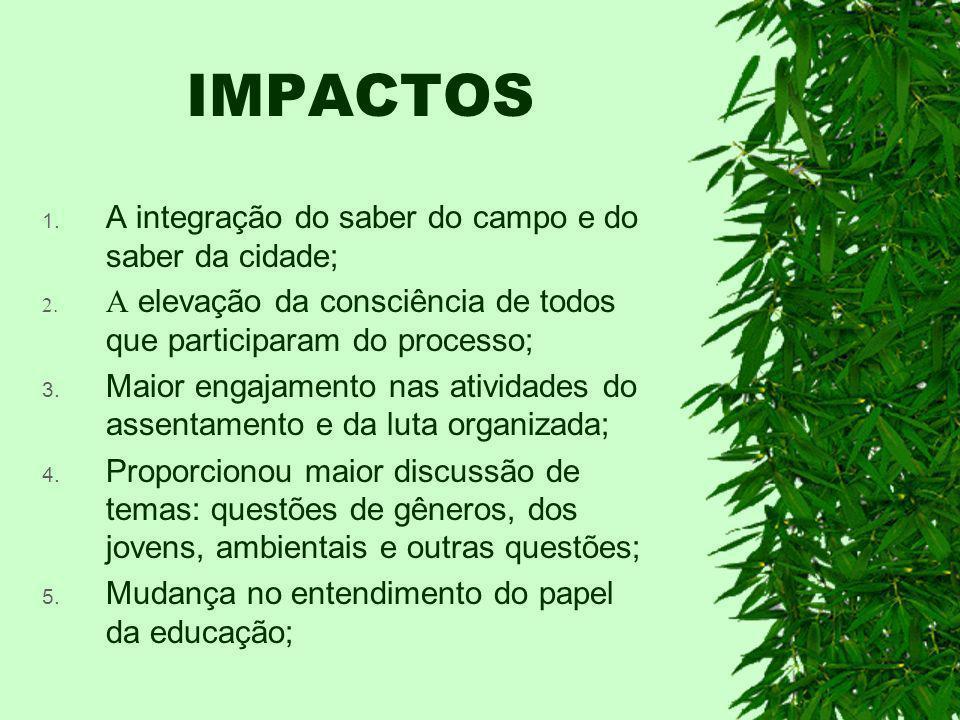 IMPACTOS A integração do saber do campo e do saber da cidade;