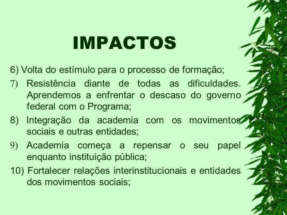 IMPACTOS 6) Volta do estímulo para o processo de formação;