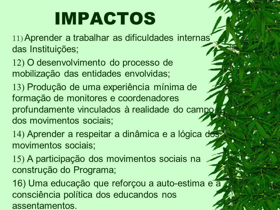 IMPACTOS 11) Aprender a trabalhar as dificuldades internas das Instituições;