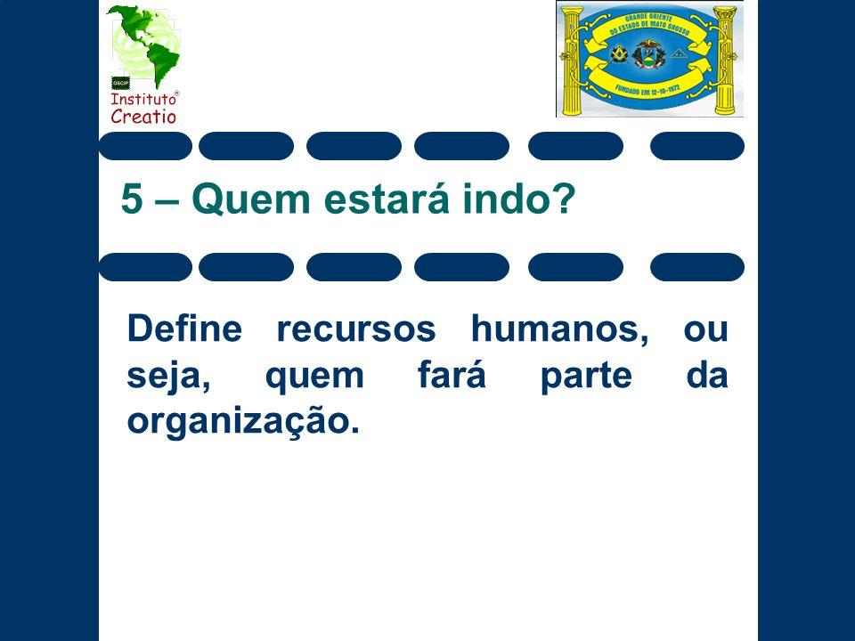 Define recursos humanos, ou seja, quem fará parte da organização.