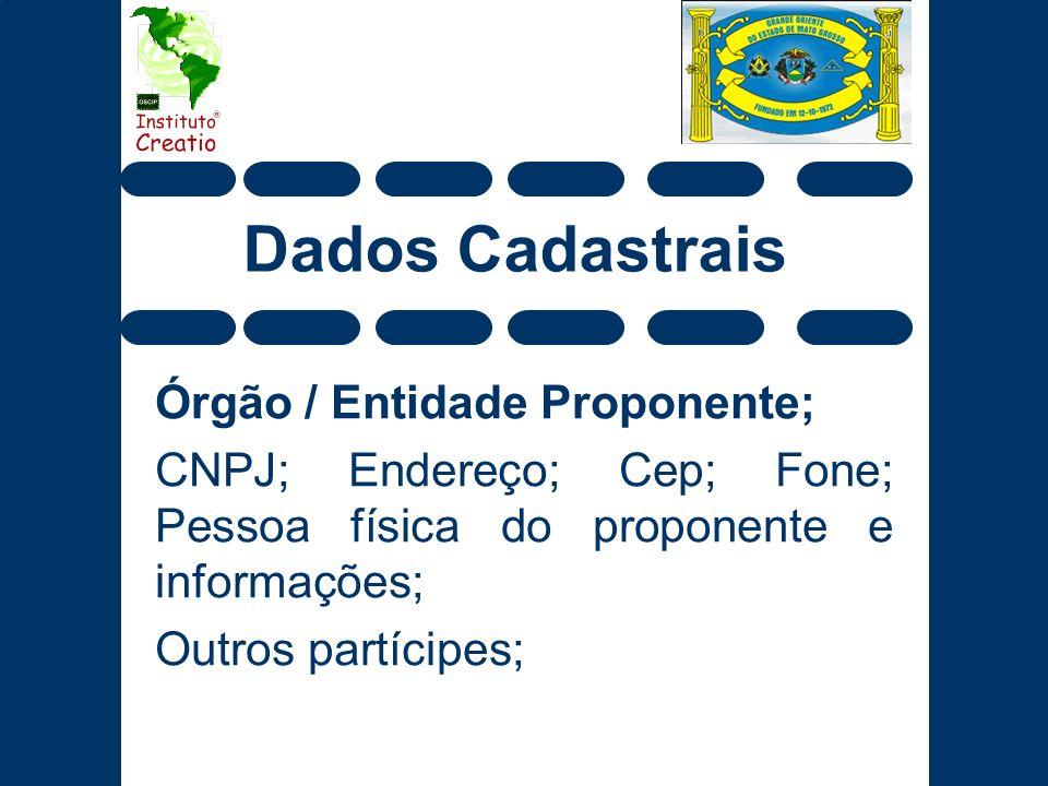 Dados Cadastrais Órgão / Entidade Proponente;