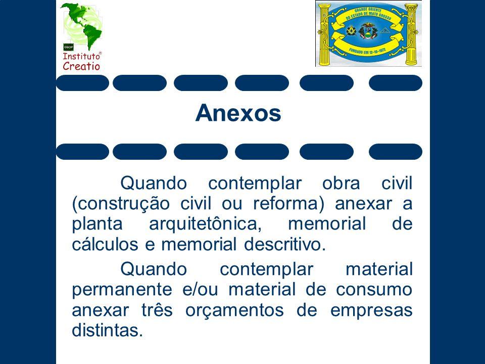 Anexos Quando contemplar obra civil (construção civil ou reforma) anexar a planta arquitetônica, memorial de cálculos e memorial descritivo.