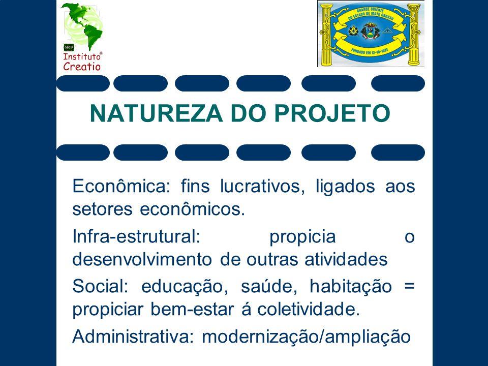NATUREZA DO PROJETO Econômica: fins lucrativos, ligados aos setores econômicos. Infra-estrutural: propicia o desenvolvimento de outras atividades.