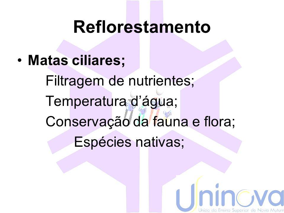 Reflorestamento Matas ciliares; Filtragem de nutrientes;