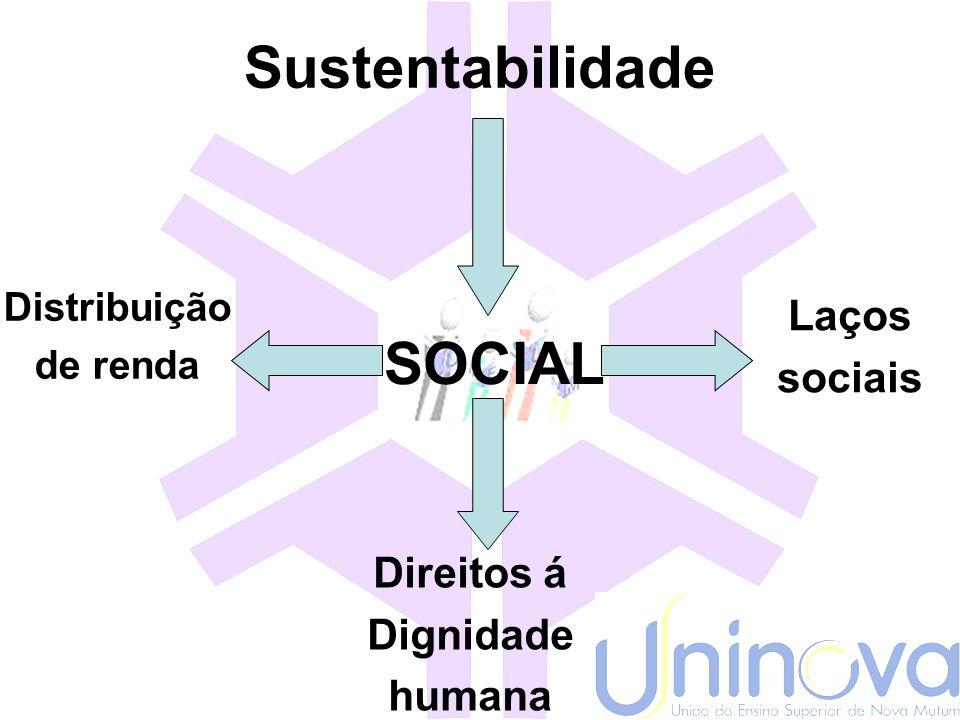 Sustentabilidade SOCIAL Laços sociais Direitos á Dignidade humana