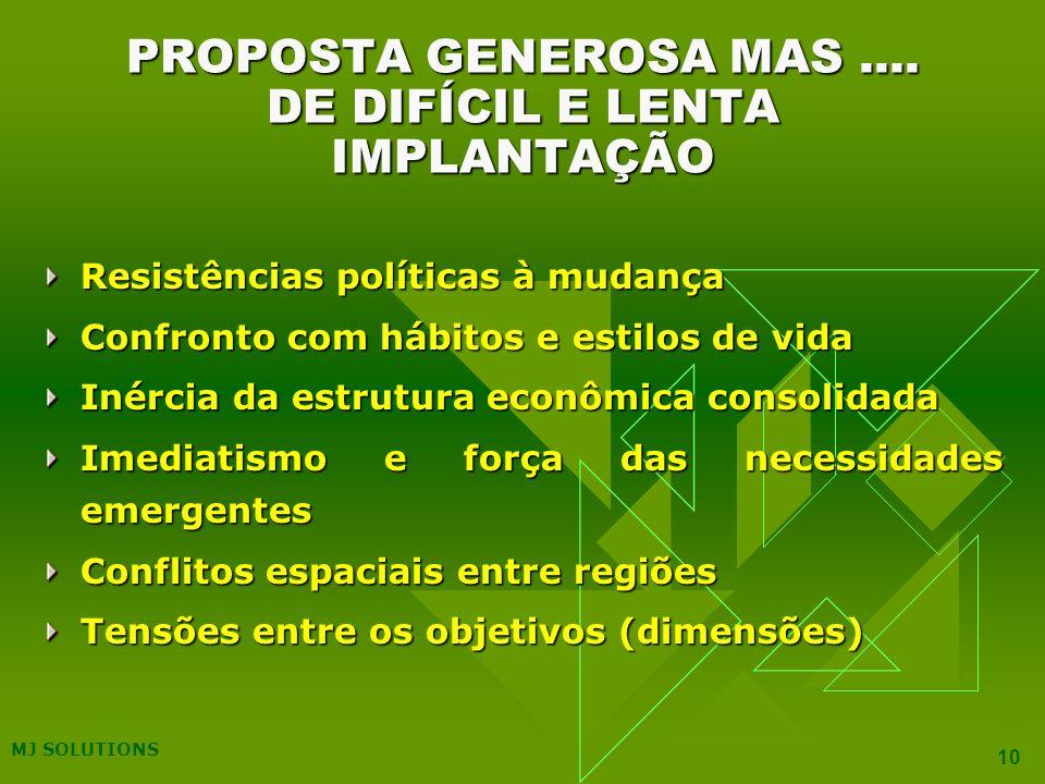 PROPOSTA GENEROSA MAS .... DE DIFÍCIL E LENTA IMPLANTAÇÃO