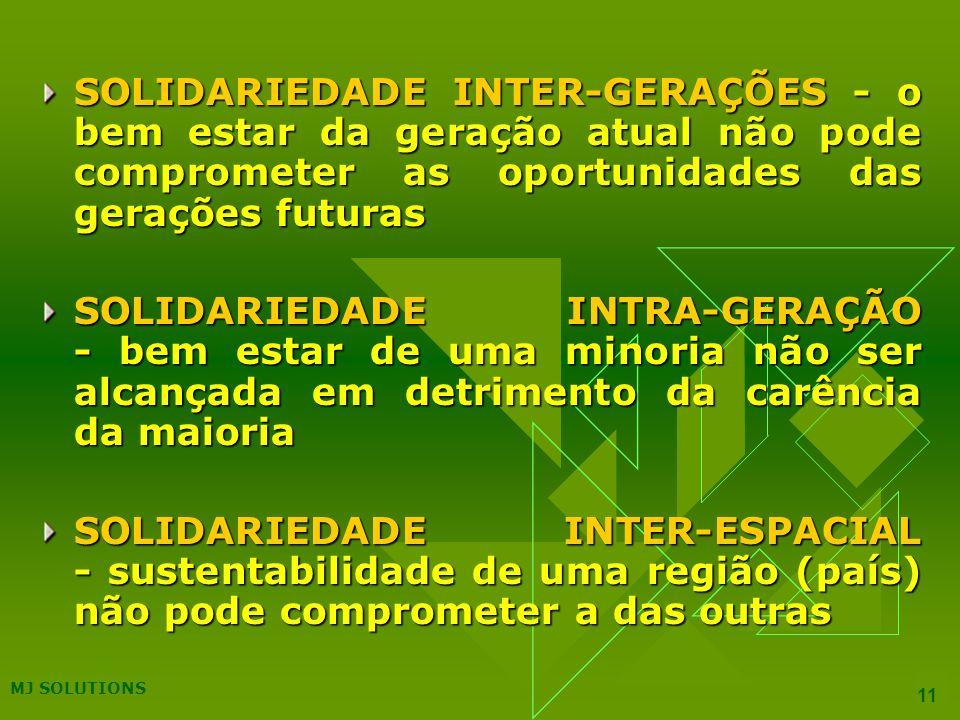 SOLIDARIEDADE INTER-GERAÇÕES - o bem estar da geração atual não pode comprometer as oportunidades das gerações futuras