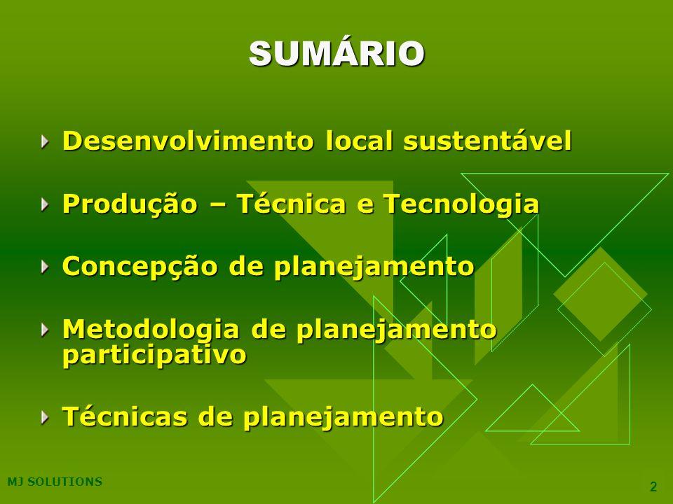 SUMÁRIO Desenvolvimento local sustentável