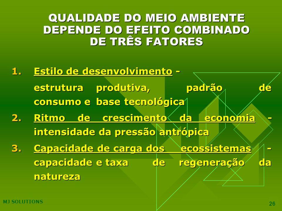 QUALIDADE DO MEIO AMBIENTE DEPENDE DO EFEITO COMBINADO DE TRÊS FATORES