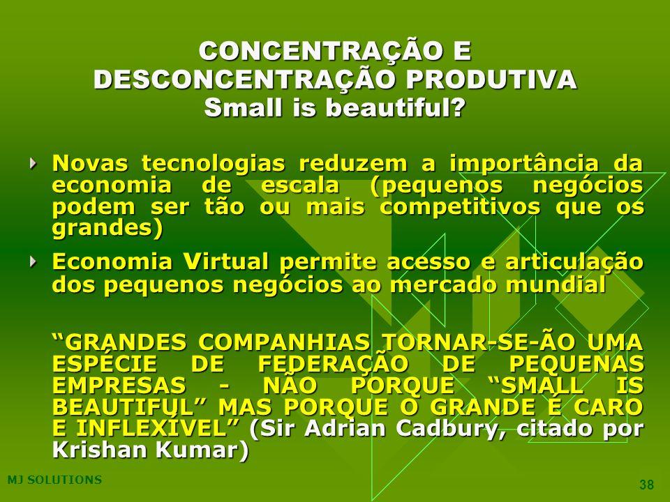 CONCENTRAÇÃO E DESCONCENTRAÇÃO PRODUTIVA Small is beautiful