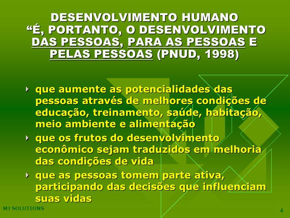 DESENVOLVIMENTO HUMANO É, PORTANTO, O DESENVOLVIMENTO DAS PESSOAS, PARA AS PESSOAS E PELAS PESSOAS (PNUD, 1998)