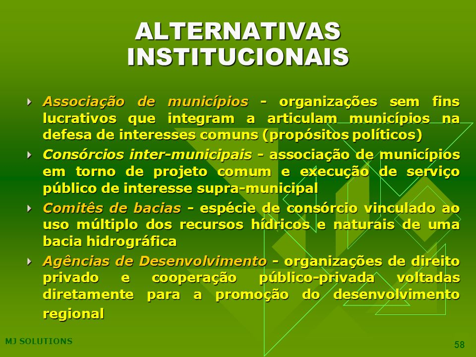 ALTERNATIVAS INSTITUCIONAIS