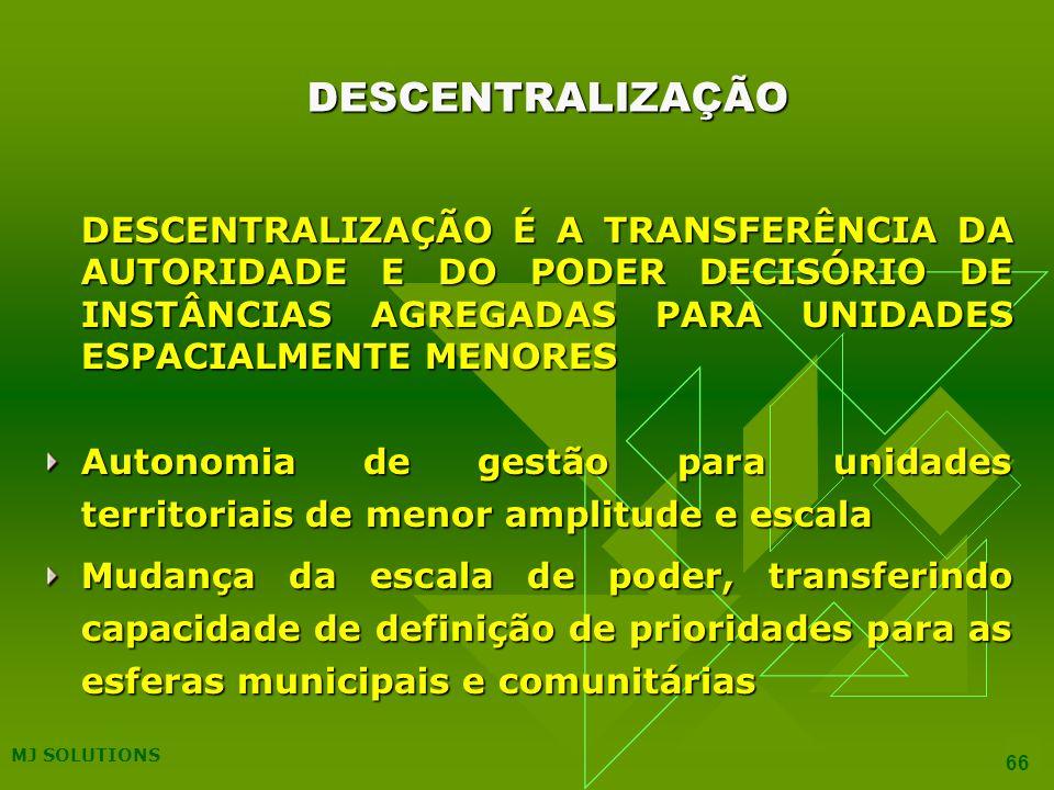 DESCENTRALIZAÇÃO DESCENTRALIZAÇÃO É A TRANSFERÊNCIA DA AUTORIDADE E DO PODER DECISÓRIO DE INSTÂNCIAS AGREGADAS PARA UNIDADES ESPACIALMENTE MENORES.