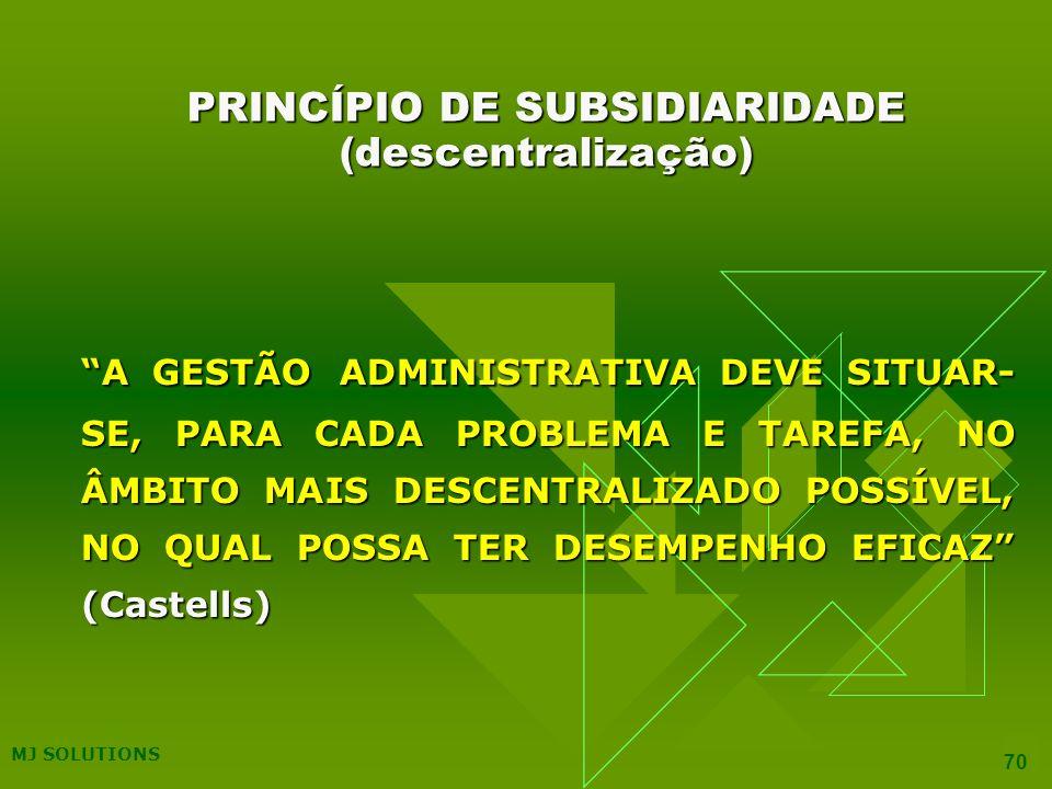 PRINCÍPIO DE SUBSIDIARIDADE (descentralização)