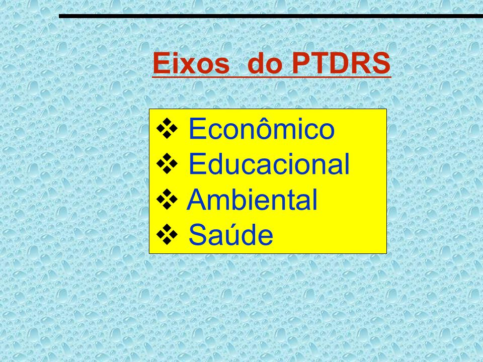 Eixos do PTDRS Econômico Educacional Ambiental Saúde