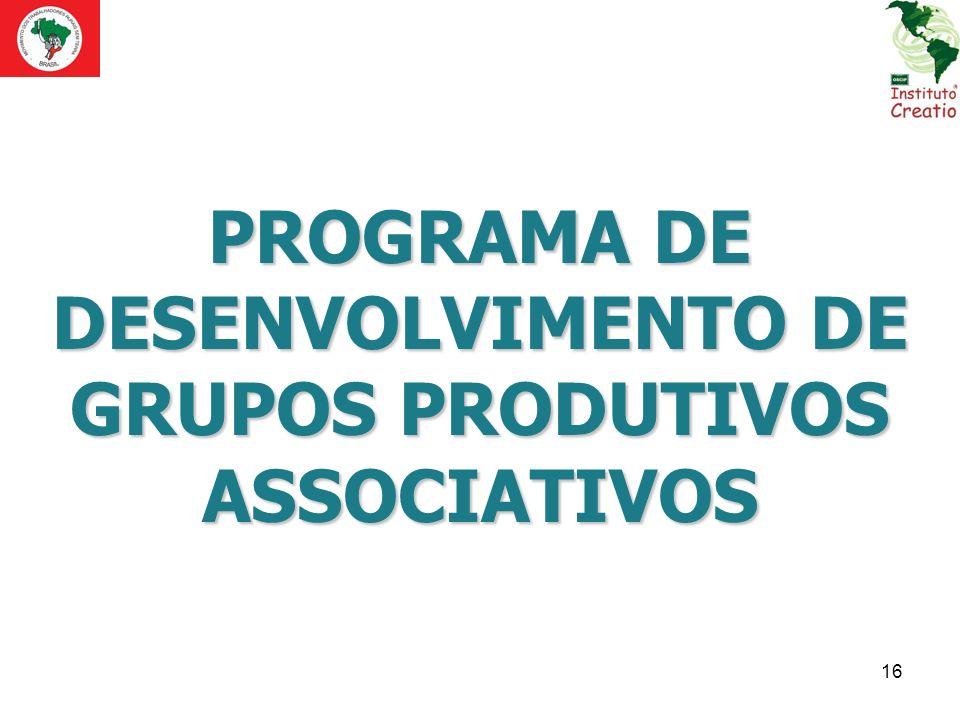 PROGRAMA DE DESENVOLVIMENTO DE GRUPOS PRODUTIVOS ASSOCIATIVOS