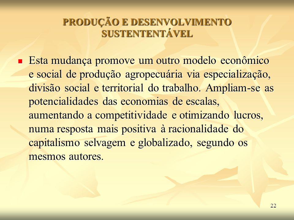 PRODUÇÃO E DESENVOLVIMENTO SUSTENTENTÁVEL
