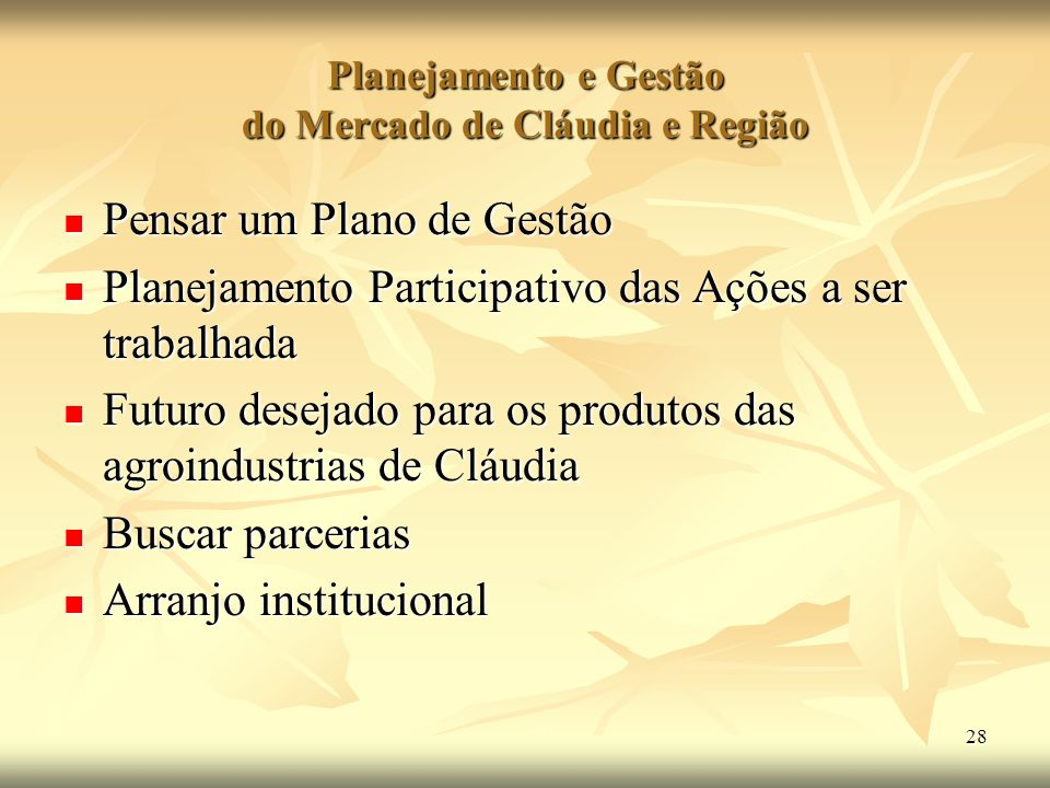 Planejamento e Gestão do Mercado de Cláudia e Região