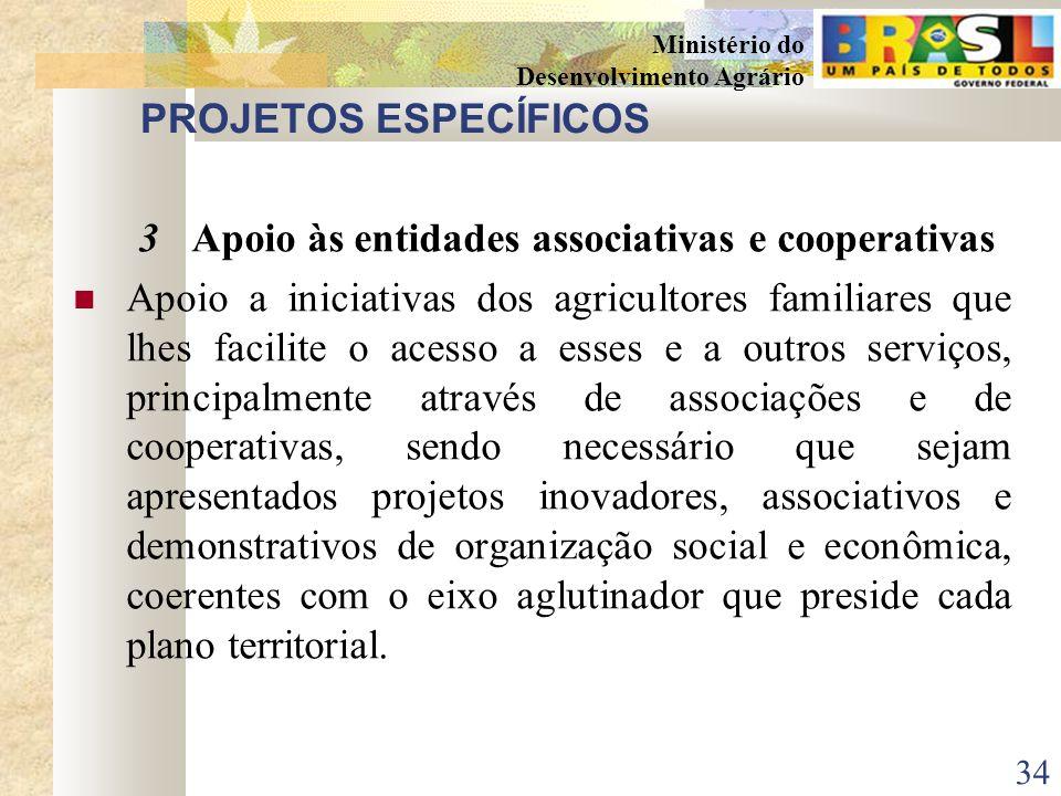 PROJETOS ESPECÍFICOS 3 Apoio às entidades associativas e cooperativas.