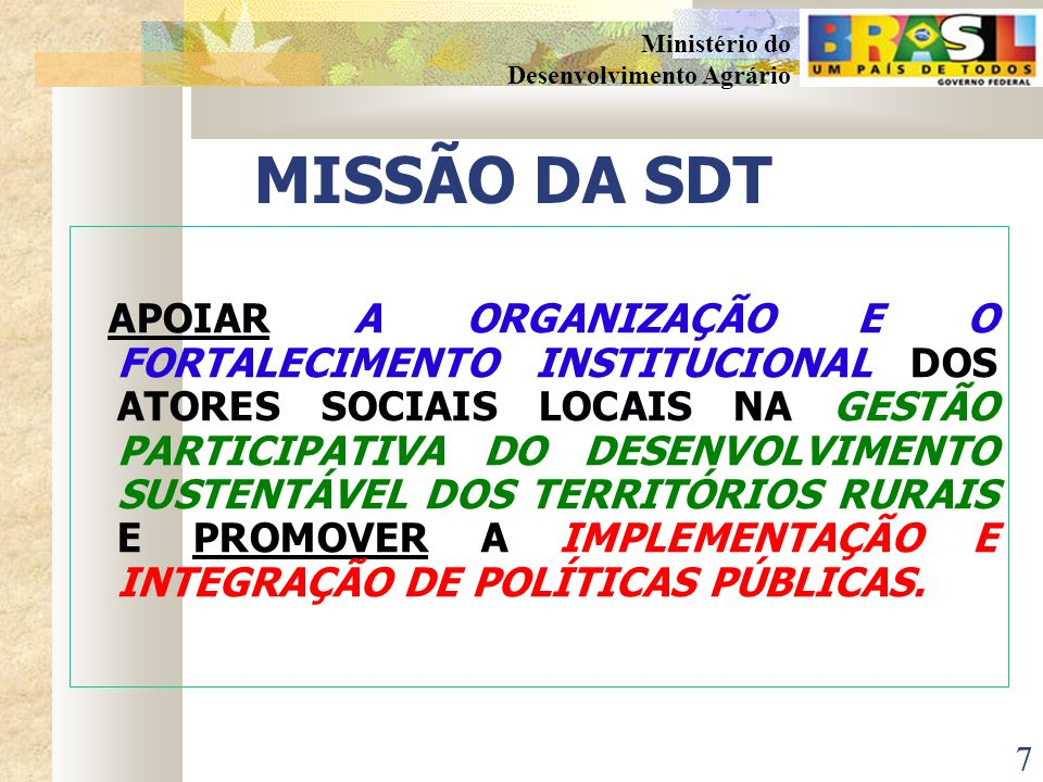 MISSÃO DA SDT