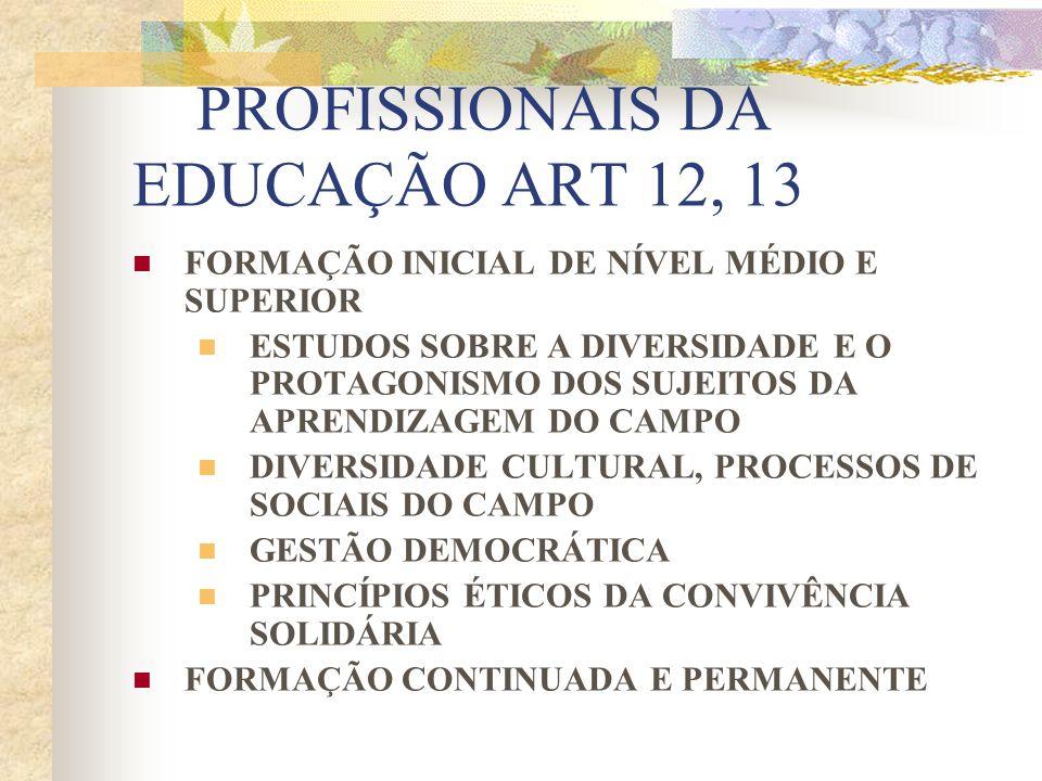PROFISSIONAIS DA EDUCAÇÃO ART 12, 13