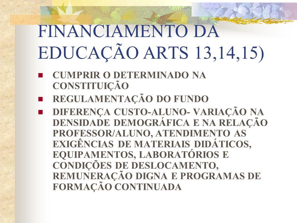 FINANCIAMENTO DA EDUCAÇÃO ARTS 13,14,15)