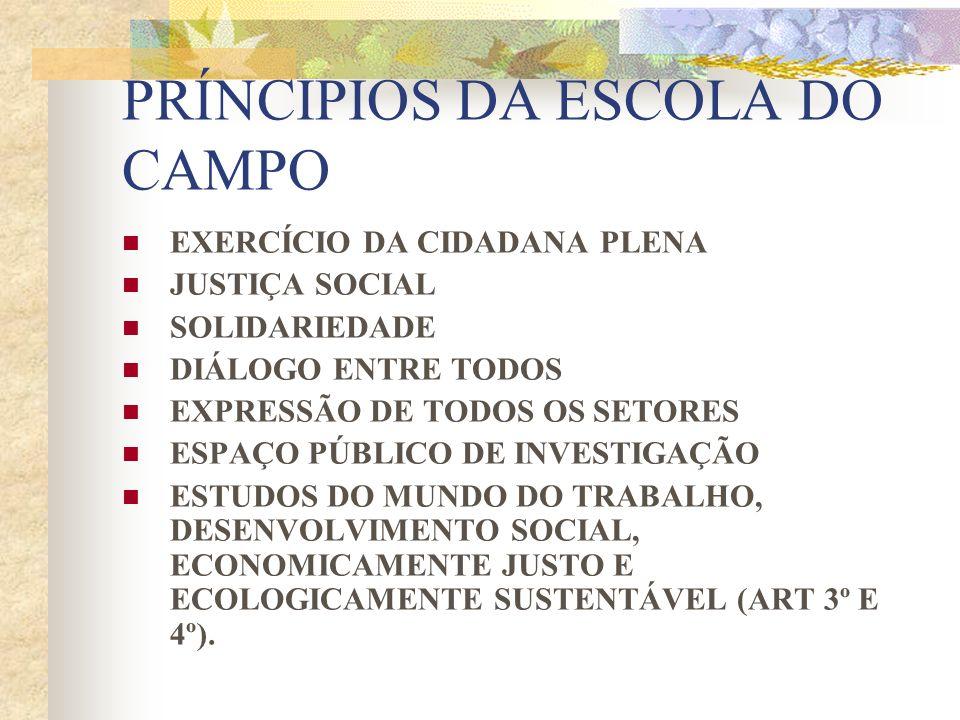 PRÍNCIPIOS DA ESCOLA DO CAMPO