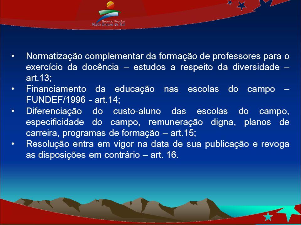 Normatização complementar da formação de professores para o exercício da docência – estudos a respeito da diversidade – art.13;