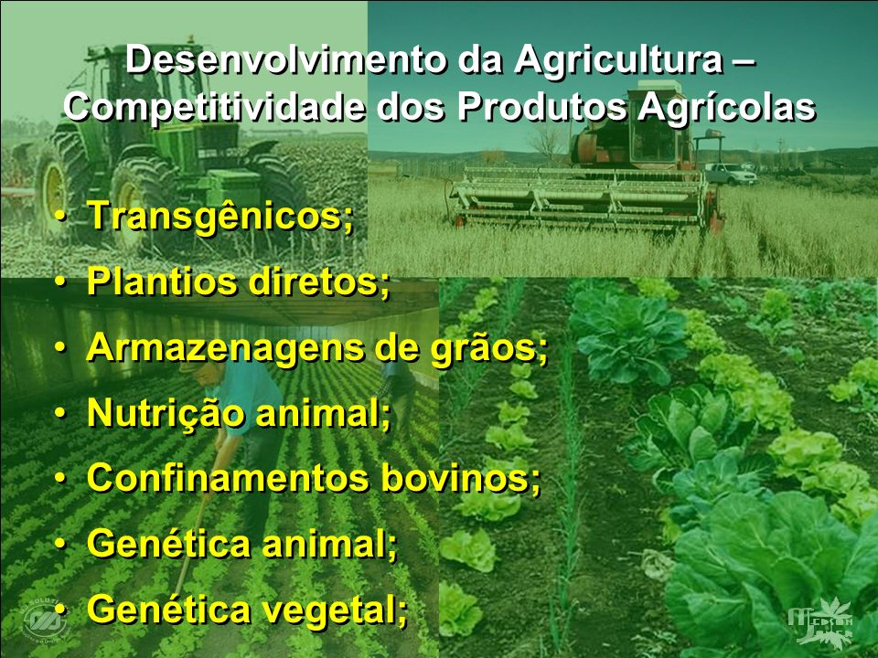 Desenvolvimento da Agricultura – Competitividade dos Produtos Agrícolas