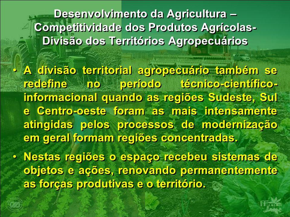 Desenvolvimento da Agricultura – Competitividade dos Produtos Agrícolas- Divisão dos Territórios Agropecuários