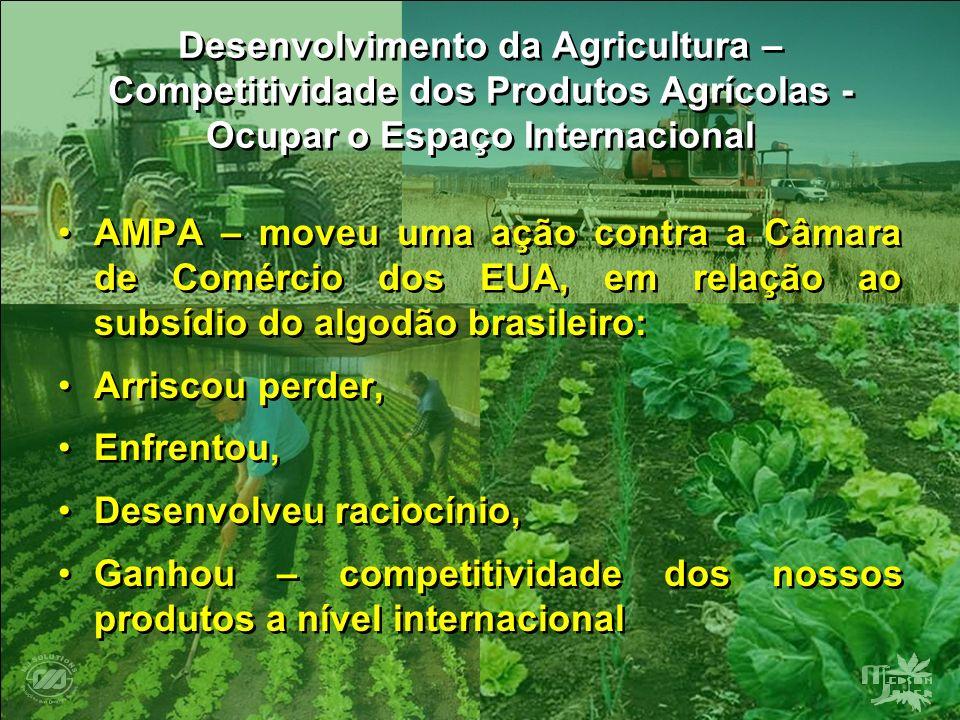 Desenvolvimento da Agricultura – Competitividade dos Produtos Agrícolas - Ocupar o Espaço Internacional