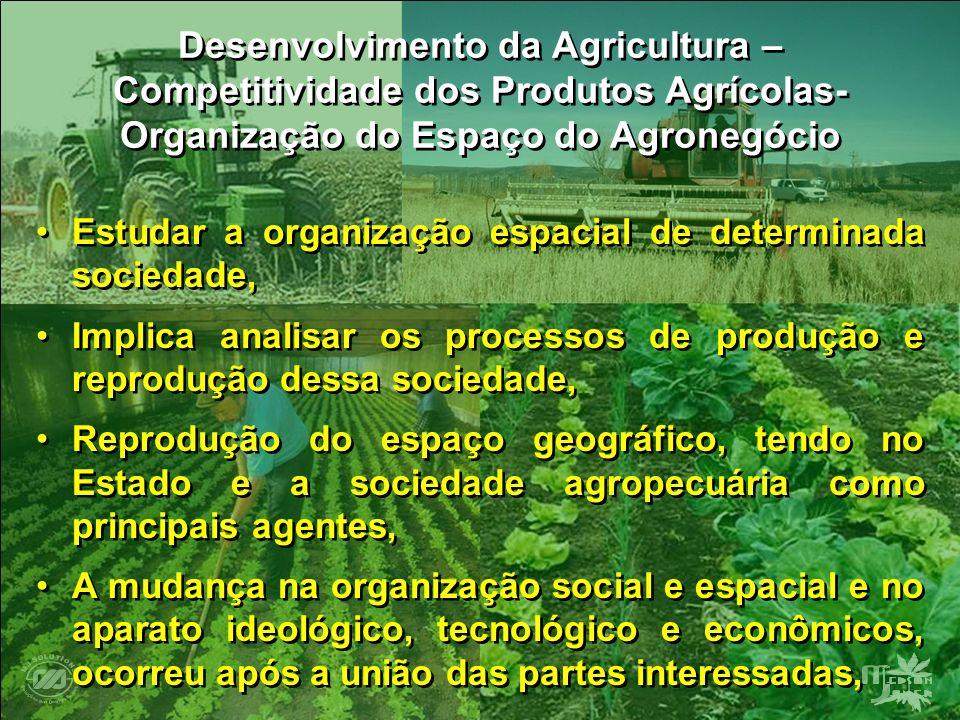 Desenvolvimento da Agricultura – Competitividade dos Produtos Agrícolas- Organização do Espaço do Agronegócio