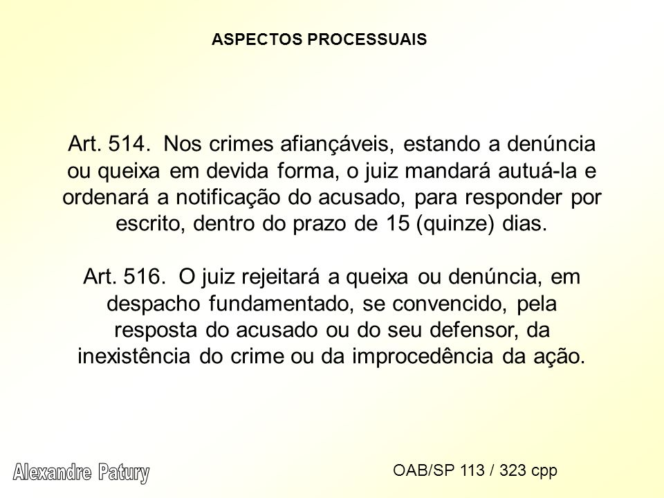 ASPECTOS PROCESSUAIS