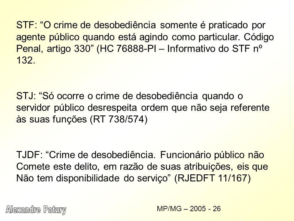TJDF: Crime de desobediência. Funcionário público não