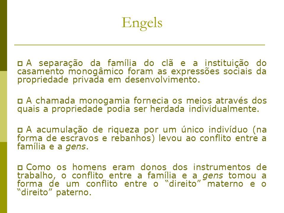 Engels A separação da família do clã e a instituição do casamento monogâmico foram as expressões sociais da propriedade privada em desenvolvimento.