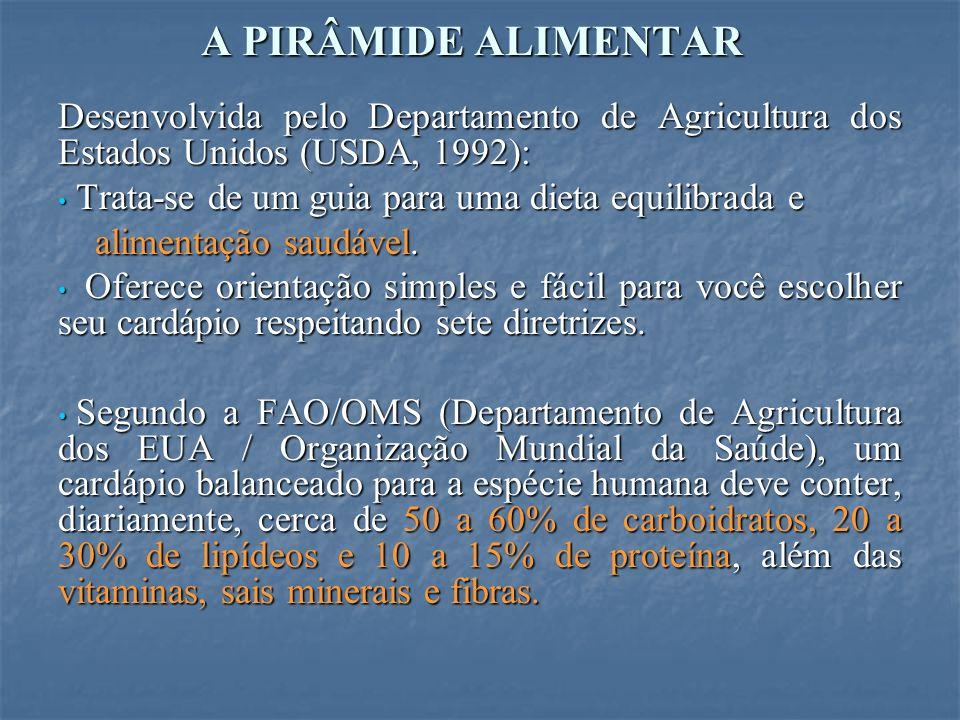 A PIRÂMIDE ALIMENTAR Desenvolvida pelo Departamento de Agricultura dos Estados Unidos (USDA, 1992):