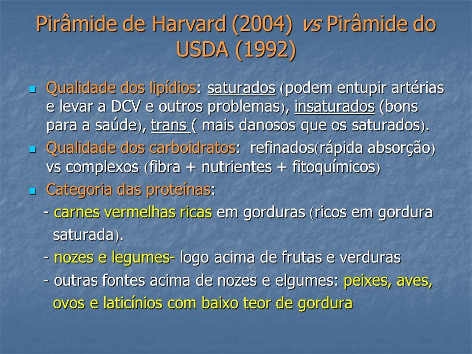 Pirâmide de Harvard (2004) vs Pirâmide do USDA (1992)