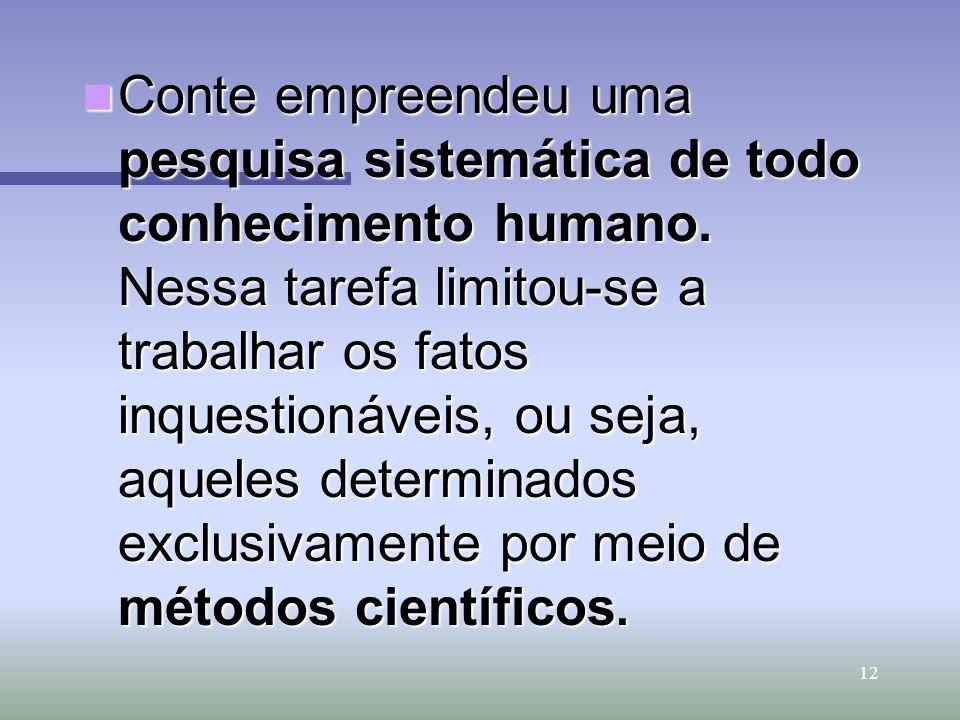 Conte empreendeu uma pesquisa sistemática de todo conhecimento humano