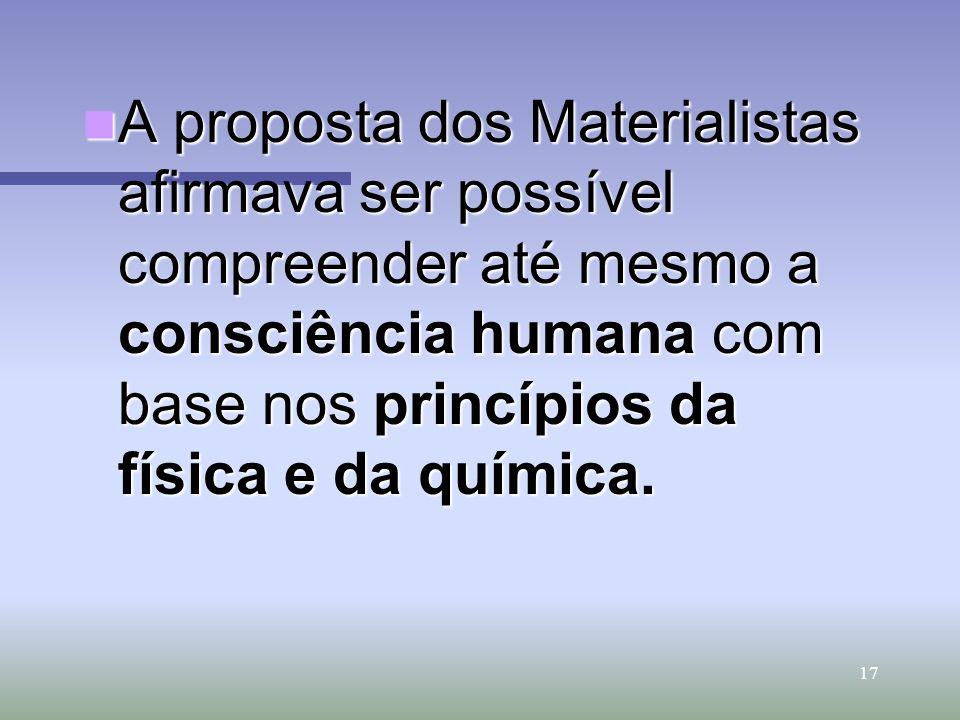 A proposta dos Materialistas afirmava ser possível compreender até mesmo a consciência humana com base nos princípios da física e da química.