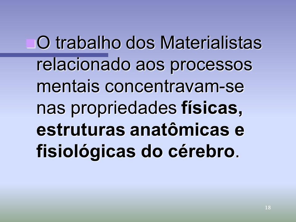 O trabalho dos Materialistas relacionado aos processos mentais concentravam-se nas propriedades físicas, estruturas anatômicas e fisiológicas do cérebro.