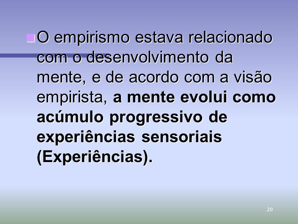 O empirismo estava relacionado com o desenvolvimento da mente, e de acordo com a visão empirista, a mente evolui como acúmulo progressivo de experiências sensoriais (Experiências).