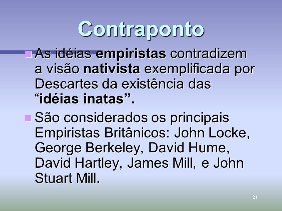 ContrapontoAs idéias empiristas contradizem a visão nativista exemplificada por Descartes da existência das idéias inatas .