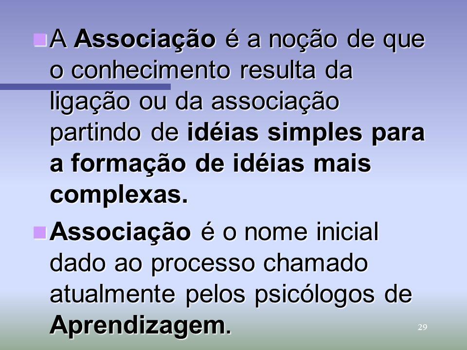 A Associação é a noção de que o conhecimento resulta da ligação ou da associação partindo de idéias simples para a formação de idéias mais complexas.