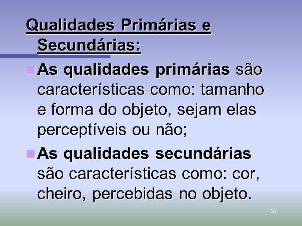 Qualidades Primárias e Secundárias: