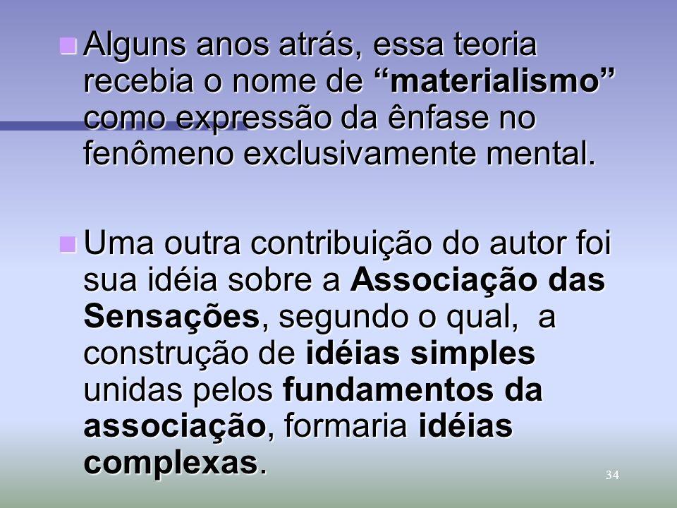 Alguns anos atrás, essa teoria recebia o nome de materialismo como expressão da ênfase no fenômeno exclusivamente mental.