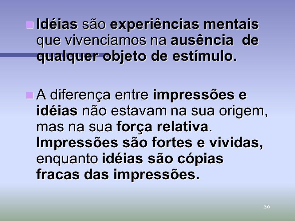 Idéias são experiências mentais que vivenciamos na ausência de qualquer objeto de estímulo.