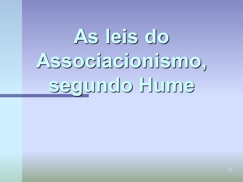 As leis do Associacionismo, segundo Hume