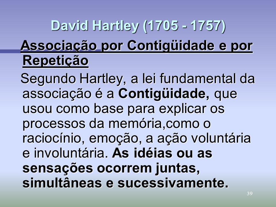 David Hartley (1705 - 1757) Associação por Contigüidade e por Repetição.
