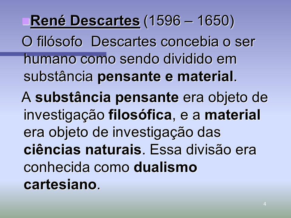 René Descartes (1596 – 1650) O filósofo Descartes concebia o ser humano como sendo dividido em substância pensante e material.
